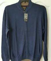 New Tasso Elba Men Cardigan Sweater Cotton Shawl Collar Night Blue Hidde... - $526,91 MXN
