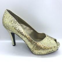Nine West Peep Toe Pumps Women Size 10M Gold Glitter Sparkle Heels - $35.00