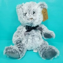 "Grey Teddy Bear Black Bow Tie Plush Stuffed Animal K Luxe 13"" Brown Nose NEW - $17.81"