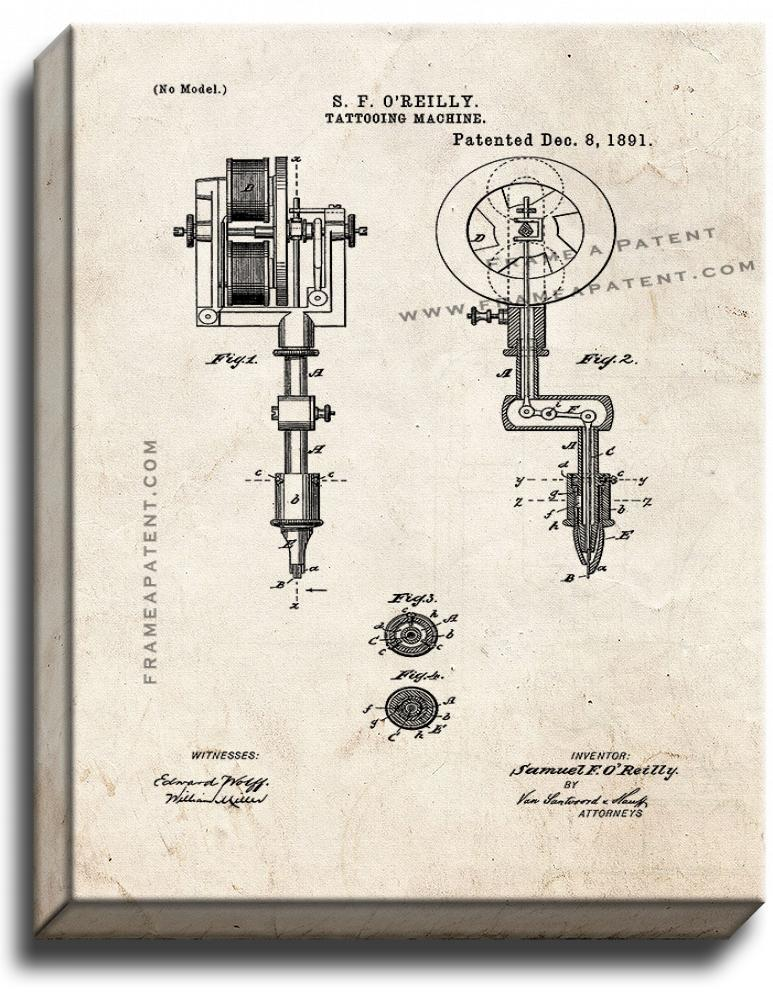 Primary image for Tattooing Machine Patent Print Old Look on Canvas