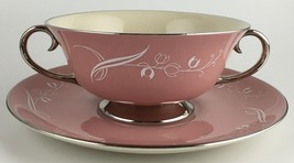 Flintridge SNOW TULIP cream soup bowl / saucer (SKU EC 117) FREE SHIPPING - $35.00