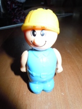 Little Plastic Workman Figure with Yellow Hat - $1.99