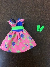 Barbie Doll Outfit Dress Retro 80's Floral Print Pink & Green Matching Shoes #21 - $9.89