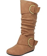 Cambridge Select Slouchy Pull On Mid Calf Round Toe Buckle Boot 7.5 BM U... - $12.04