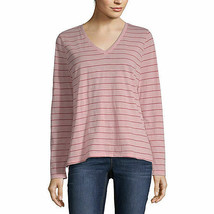 NWT $22  a.n.a rose  stripe  LONG  sleeve tee  TOP SIZE petite  LARGE - $17.81