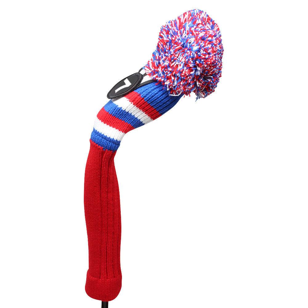 Majek Golf Red White Blue #7 Hybrid Pom Pom Knit Rescue Utility Club Head Cover