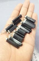 Natural Sterling silver black Tourmaline necklaces pendants long 10 pieces lot - $39.60