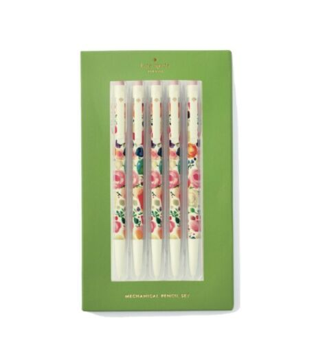 Primary image for KATE SPADE New York FLORAL MECHANICAL PENCIL SET Set of 5 Pack New in Box