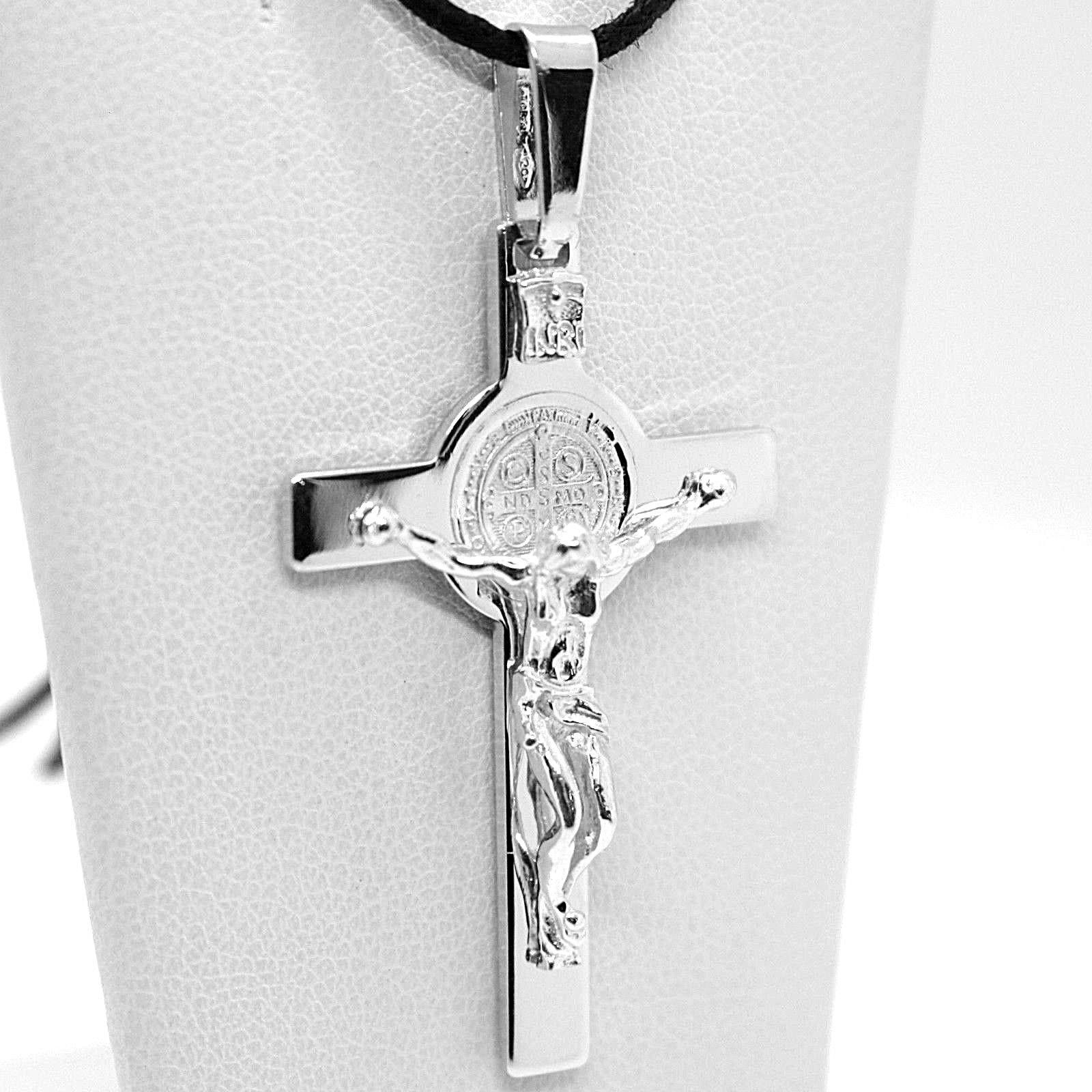 18K WHITE GOLD BIG CROSS WITH JESUS & SAINT BENEDICT MEDAL MADE IN ITALY, 44 mm