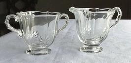 Vintage Sugar and Creamer set  etched glass - $31.68
