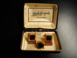 Michelangelo Cuff Links and Tie Tack Gold Colored Metal Brown Faceted St... - $25.99