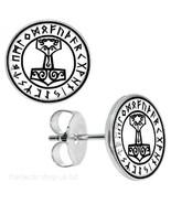 Thors Hammer Rune Earrings Viking Asgard Unisex Goth Alternative - $20.45