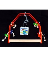 "Paradise Toys Medium Bird Swing Perch 9"" x 9"" Wood Acrylic Activity 326 ... - $11.49"