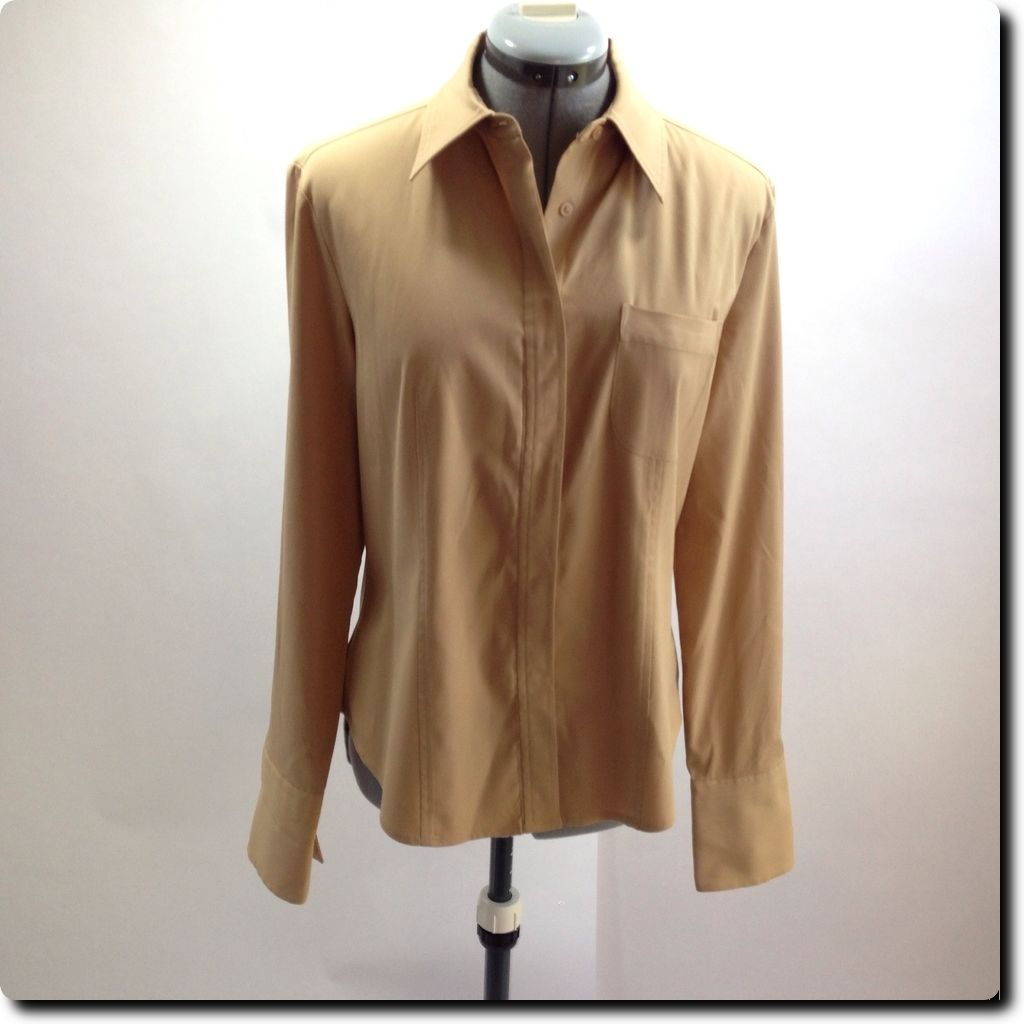 Express Light Brown Fitted Long Sleeve Stretch Top with French Cuffs 10