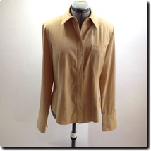 Express Light Brown Fitted Long Sleeve Stretch Top with French Cuffs 10 - $14.50