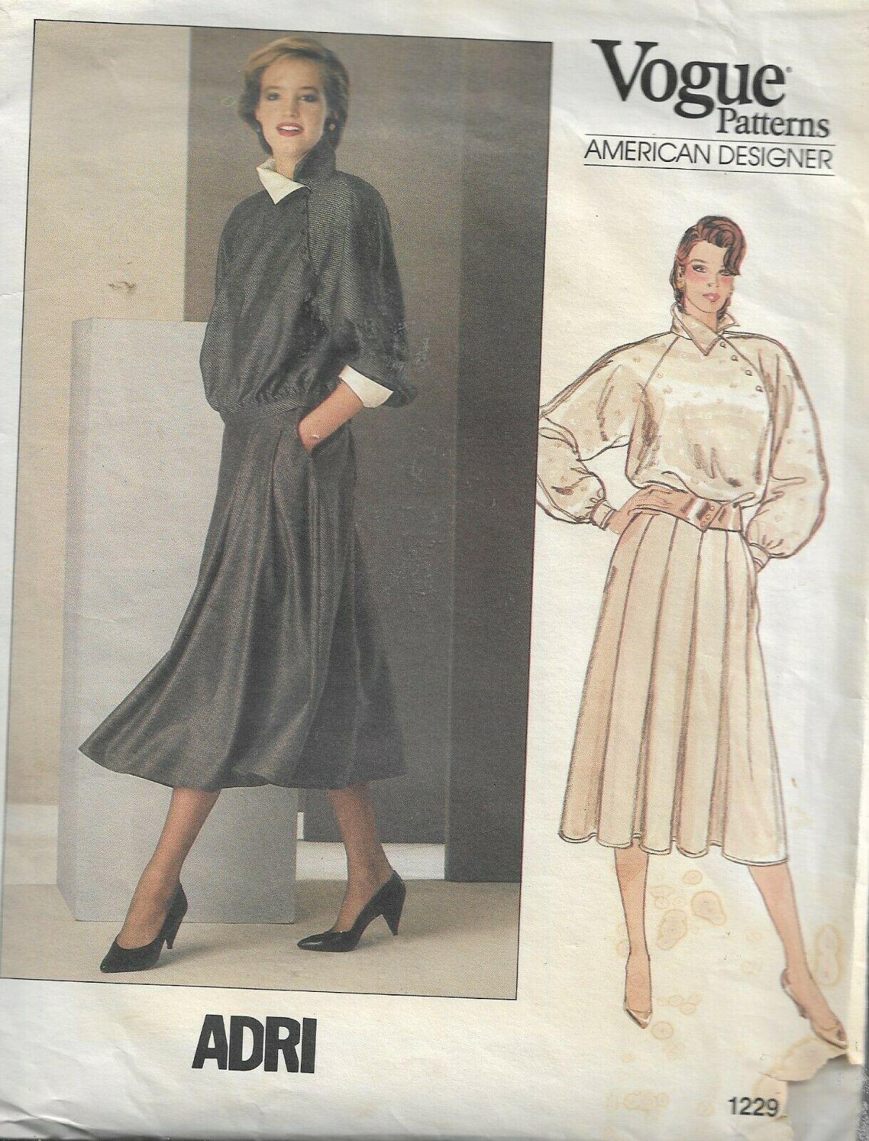 Vintage VOGUE American Designer ADRI Pattern #1229-Misses Top & Skirt Sz 8