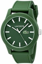 Lacoste Men's 2010763 Lacoste.12.12 Green Resin Watch with Silicone Band - $116.88