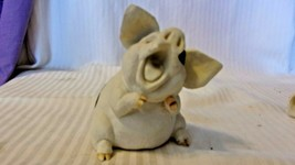 White With Black Spots Resin Pig Figurine With Mouth Open, Ears Fanned 4... - $22.28