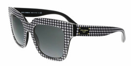 DOLCE & GABBANA Black/White Square Houndstooth Oversized Sunglasses DG4286F - $154.28