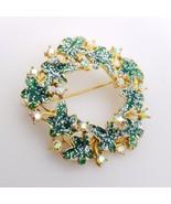 Vintage Green Enamel Leaf & Aurora Borealis Rhinestone Wreath Brooch - $15.00