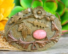 Vintage Art Nouveau Sash Brooch Pin Gold Tone Cabochon Flowers Signed - $47.95