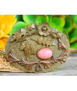 Vintage Art Nouveau Sash Brooch Pin Gold Tone Cabochon Flowers Signed - $47.95