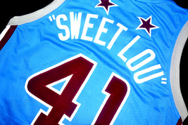 Sweet Lou #41 Harlem Globetrotters Men Basketball Jersey Light Blue Any Size image 4