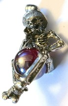 SKELETON IN TOP HAT PEWTER PENDANT W/ GLASS SPHERE  Approx 2 inches tall  (T172) image 2