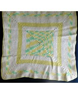 "AFGHAN Blanket BABY Handmade Crochet Pastel Yellow Green White 31"" x 31""... - $34.49"