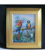 Parrots in the Caribbean Amazon Rain Forest Trees Stretched 14.6x12 Oil ... - $98.99