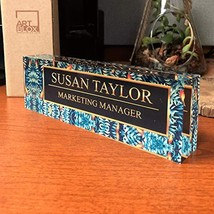 Desk Name Plate Personalized Name & Title, Tropical Flower Design Printe... - $42.82