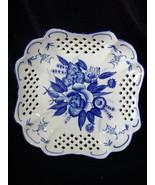 Heavy Blue Rose Square Sided Pierced Porcelain Berry/Platter/Bowl Made i... - $19.00
