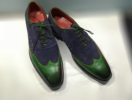 Handmade Men Green Leather Navy Blue Wing Tip Lace Up Dress/Formal Oxford Shoes image 1