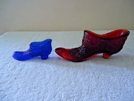Vintage Lot Of 2 Glass Shoes Figurines,1 Red Color Fenton ?,1,Blue One - $23.36