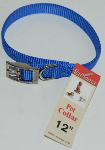 Valhoma 720 12 BL Dog Collar Royal Blue Single Layer Nylon 12 inches Package 1