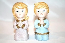 HOMCO Kneeling Praying Bisque Boy & Girl Figurines #5211 - $15.00