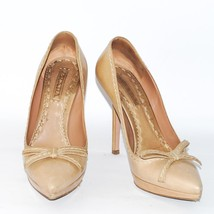 PRADA Beige Tan Leather High Heel Shoes Pointed Toe Party Pumps Stiletto... - $102.54