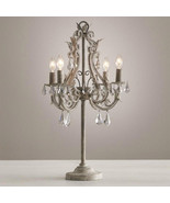 Rococo Iron & Clear Crystal Table Desk Lamp E14 Light Home Lighting Fixture - $275.00