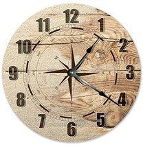 Sugar Vine Art Wind Rose Compass Silent Non Ticking Round Battery Operat... - $20.69