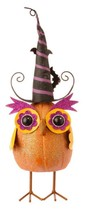 "Raz 15"" Orange Glittered Bobble Owl with Witches Hat Halloween Decoration - $25.04"