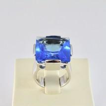 Anillo Banda de de Plata 925 Rodio con Cristal Azul Cuadrado Facetado image 2