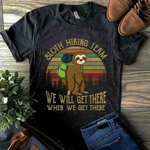 Sloth Hiking Team We Will Get There Vintage Men T-Shirt Black Cotton S-6XL