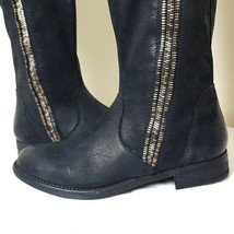 Steven by Steve Madden Zendra Black Distressed Engineer Tall Leather Boo... - $109.99