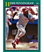 1991 Score Baseball Card, #656, Herm Winningham, Cincinnati Reds - $0.99
