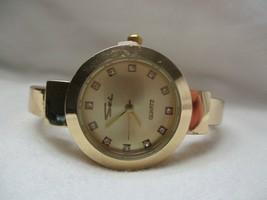 Sei Wristwatch Rose Gold Tone Cuff Band Round Face Stylish - $29.00