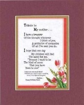 Personalized Touching and Heartfelt Poem for Mothers - Tribute to My Mother Poem - $19.95