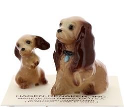 Hagen-Renaker Miniature Ceramic Dog Figurine Don Winton Cocker Mama and Pup image 1