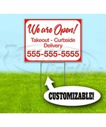WE ARE OPEN CUSTOM PHONE NUMBER 18x24 Yard Sign WITH STAKE Corrugated Ba... - $17.09+
