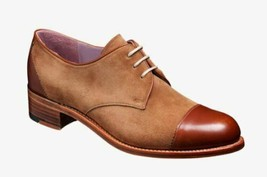 Handmade Women's  Leather & Suede Two Tone Derby Toe Cap Lace-Up Shoes - $144.99
