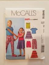 Sewing Pattern Girls Clothing Sizes 7-8-10 McCalls Brand #4816 Top Skirt... - $7.70
